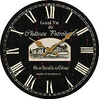 14インチのクラシックな壁掛け時計、レトロなファッションの壁掛け時計、木製の段ボール時計、モダンな家の装飾リング用片面ステッカー,C