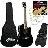 tiger music acg4 chitarra elettroacustica pacchetto per principianti con sintonizzatore integrato e eq, nero