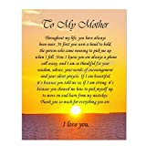 'To My Mother' Art Image- Thank You For Everything! 8 x 10 Wall Art Ready to Frame. Permanent Heartfelt & Inspirational Gift Saying Thank You. Lifetime Keepsake Gift for Any Mother, Parents & In-Laws