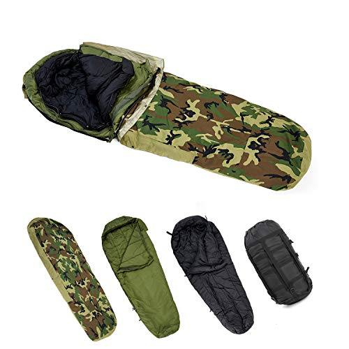 MT Army Military Modular Sleeping Bags System, Multi Layered with Bivy Cover for All Season, Woodland