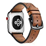 Zeiger Bracelet Cuir pour Apple Watch 42mm 44mm Marron Série 1 2 3 4 Compatible Cuir Véritable Style à Point Polka Noir...