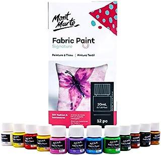 Mont Marte Pintura para Tela – 12 piezas x 20ml – Pintura Textil – Colores ideal para Ropa, Bolsos y todas las Telas