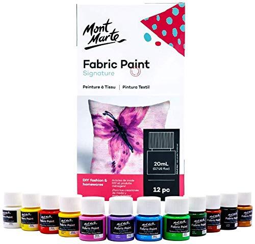 Mont Marte Textilfarbe Set - 12 Stück x 20ml - Waschfeste Stoffmalfarben - Hochwertige Farben - Ideal für Kleidung, Taschen und Allen Stoffen - Perfekt geeignet für Anfänger und Profis