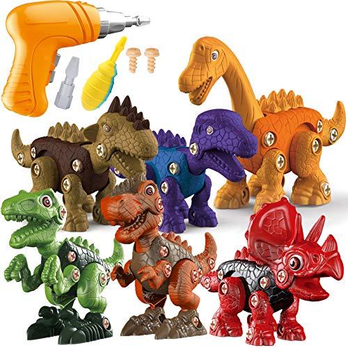 STAY GENT DesmontaDinosaurio Juguetes, 6 iezas Stem Dinosaurios Juguetes Grandes de Construcción con Taladro Eléctrico, Regalos Educativos para Niños y Niñas de 3 a 7 año