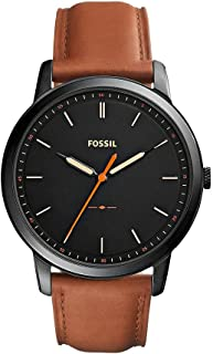 Fossil Men's Black Dial Leather Band Watch - FS5305