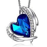 CDE Collar con Colgante de corazón de Amor para Mujer, Collares de Oro/Blanco de 18 Quilates, joyería, Regalos de cumpleaños para Esposa, Madre, Hija (Oro Blanco-Azul Oscuro)