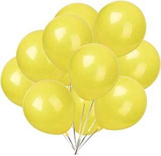 Party Balloons; 12-inch Latex Balloons 50 pcs, Wedding, Birthday Party, Baby Shower, Christmas Party Decorations (Yellow)