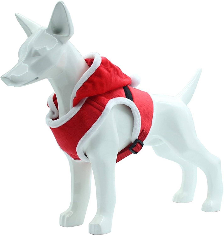 Santa Christmas Dog Harness  Soft Mesh Pet Holiday Clothes with Hood Small