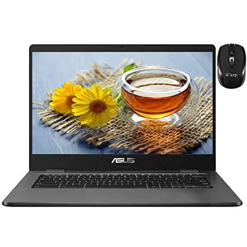2020 Flagship ASUS Chromebook C423 Laptop 14' HD Anti-Glare Display Intel Dual-Core N3350 4GB RAM 32GB eMMC 128GB SD Card Intel HD Graphics Backlit USB-C Webcam Chrome OS + iCarp Wireless Mouse
