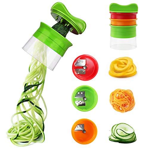LAOZHOU Hand Spiralschneider Gemüse, Küchen Gadgets für Gemüsespaghetti Karotte Gurke Kartoffel Zucchini Zwiebel Low Carb Nudeln (3-Teiliger)