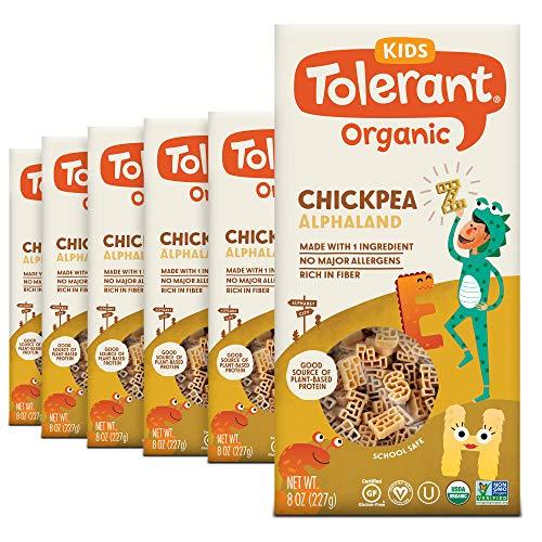 Tolerant Organic Kids Chickpea Alphaland Pasta, 8 Ounce Box (Case of 6), Single Ingredient Plant-Based Protein Pasta, Vegan Pasta, Gluten Free Pasta, School Safe, Low Glycemic Index Pasta