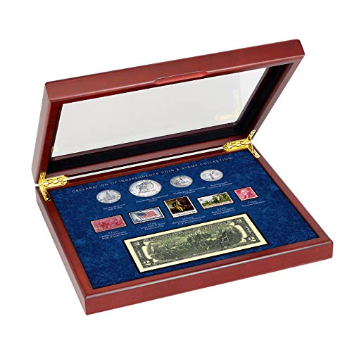 American Coin Treasures Wood Box Declaration of Independence Coin and Stamp Set| Genuine United States Currency | Mint Postage Stamps |Americana Collectible | Certificate of Authenticity