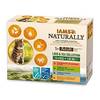 IAMS Naturally Nourriture Humide pour Chat Stérilisé ou non 12 sachets fraicheurs pour 4 Pâtées Terre/Mer en sauce - SANS SUCRE AJOUTE, OGM, protéines végétales, colorant, arôme artificiel - 12 x 85g