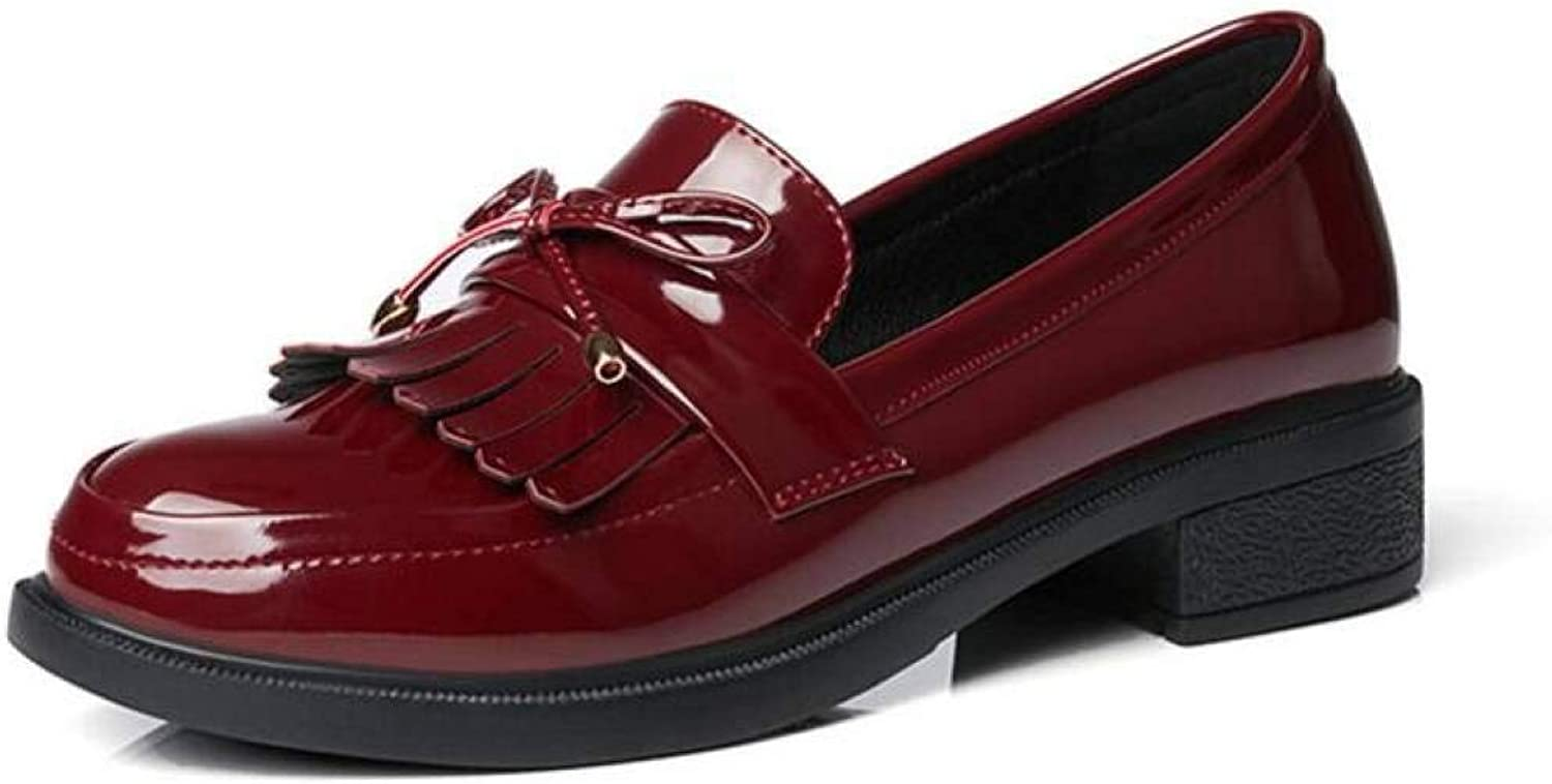 Fay Waters Women's Tassel Bowknot Loafer Pumps Round Toe Slip On Patent Leather Oxford shoes