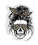 Messy Bun Skull Leopard Print Bandana for Mom Gift Decorations - 4x3 Vinyl Stickers, Laptop Decal, Water Bottle Sticker (Set of 3)