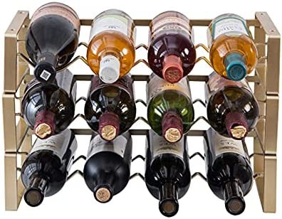 YUEBAOBEI Botelleros Apilables, Vinoteca O Botellero Metálico para hasta 12 Botellas, Soporte para Botellas Vino, Mueble Vinoteca Manejable para Botellas De Vino U Otras Bebidas,Oro
