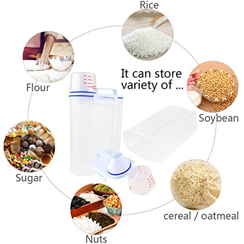 Rice Storage Bin Container Box, [Combo with Mearsuring Spoon Set], Airtight With Pour Spout and A Measuring Cup,Portable Clear Dry Food Keeper for Grain Oatmeal Cereal Flour Nuts, 2L