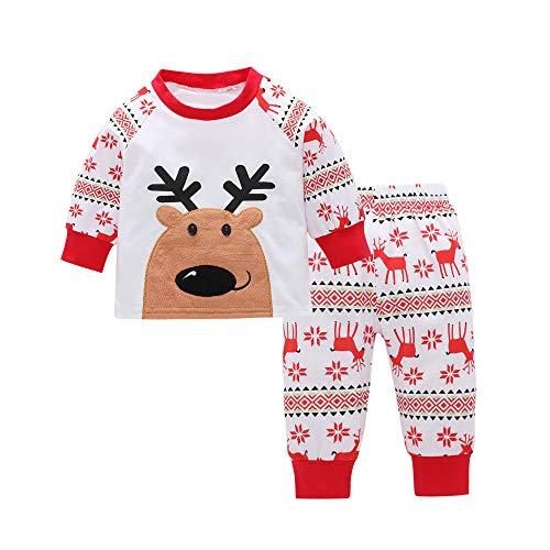1-5 años Bebe Niño Niña Ciervo Camiseta Tops + Pantalones Pijama de Navidad Conjunto de Ropa