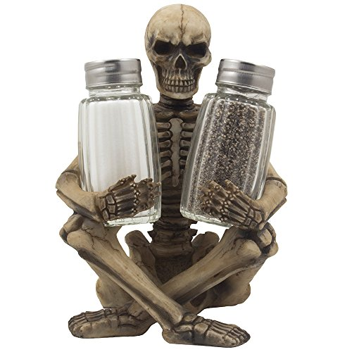 Scary Skeleton Glass Salt and Pepper Shaker Set with Decorative Spice Rack Display Stand Holder Figurine for Spooky Halloween Party Decorations and Skulls & Skeletons Kitchen Décor As Gothic Gifts