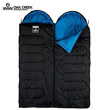 Oak Creek Double Sleeping Bag Bundle | Two Separate Sleeping Bags Designed to Zip Together to Form A Huge Double (85 Inches Long by 58 Inches Wide) or Used Separately | Perfect for 3 Season Camping