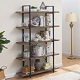 SUPERJARE 5-Shelf Industrial Bookshelf, Open Etagere Bookcase with Metal Frame, Rustic Book Shelf, Storage Display Shelves, Wood Grain - Vintage Brown