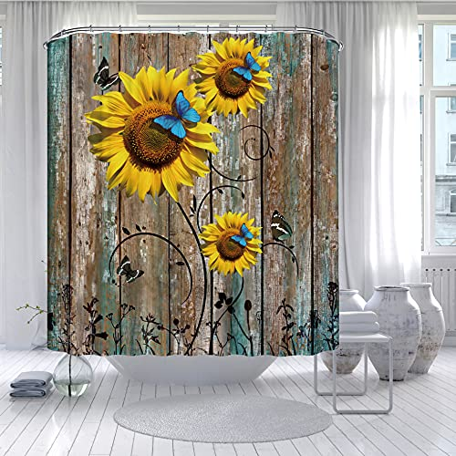 Rustic Shower Curtain, Teal Vintage Barnwood Shower Curtain for Bathroom, Yellow Sunflower Farmhouse Floral Butterfly Shower Curtain with 12 Hooks, Fabric Flower Shower Curtains, 72 x 72 Inches