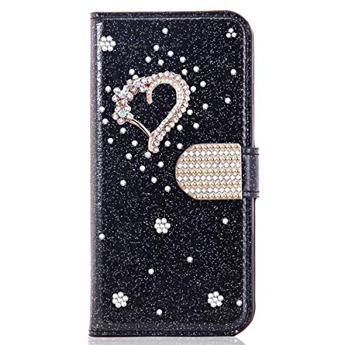 Blllue Funda De La Cartera Compatible Con El Iphone 7, Glitter Bling Diamante Amor Corazón Pu Cuero Flip Phone Cover Para Iphone 8 - Negro