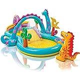ZFAYFMA Piscina hinchable para niños, centro de juego de agua, tobogán de dinosaurios, piscina de bolas del océano, adecuada para fiestas de verano en el jardín, color amarillo