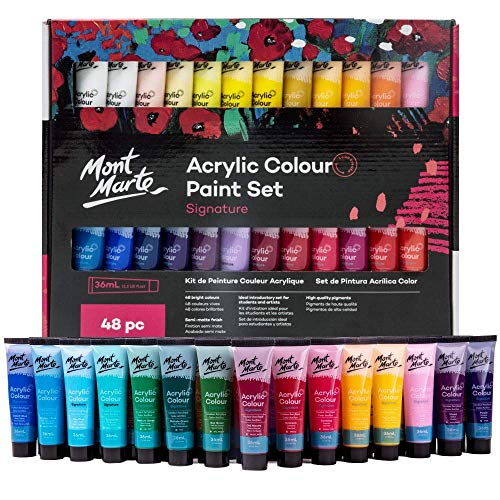 Mont Marte Signature Acrylic Paint Set, 48 Colors x 36 ml, Semi-Matte Finish,...