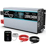 Pure Sine Wave Power Inverter 1200W Continuous/2000W Peak DC 12V to AC 110V 120V Power Inverter with Remote Control 3 AC Outlets &...