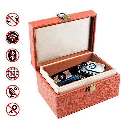 スマートキー 電波遮断ボックス 電波遮断ケース リレーアタック防止用 RFIDブロッキング キーケース スキミング防止 リレーアタック対策 ボックス 圏外ケース PUレザー、快適な植毛層により、電波遮断ボックスへのキーの損傷を防止 耐用 (ブラウン)