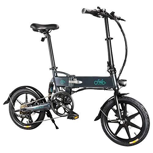 FIIDO D2S Bici Elettrica Pieghevole con Pedali, Lega di Alluminio con Sella, 16 Pollici Pneumatici Gonfiabili in Gomma, velocità Massima 25km/h, Batteria 36V 7.8Ah, 3 modalità per Guida (Grigio)