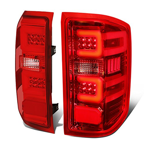 3D LED Tail Lights Brake Lamp Replacement for Chevy Silverado 1500 2500HD 3500HD 14-19, Driver and Passenger Side, Chrome Housing, Red Lens