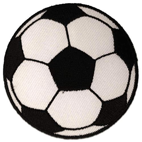 Aufnäher/Bügelbild - Fußball - weiß - Ø5,5 cm - Patch Aufbügler Applikationen zum aufbügeln Applikation Patches Flicken