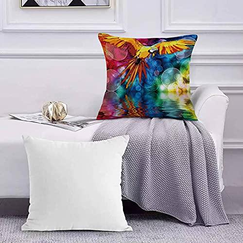 Ccstyle Funda de Cojín Funda de Almohada del Hogar Aves Loros de Colores en Halo Animales Square Soft and Cozy Pillow Covers,