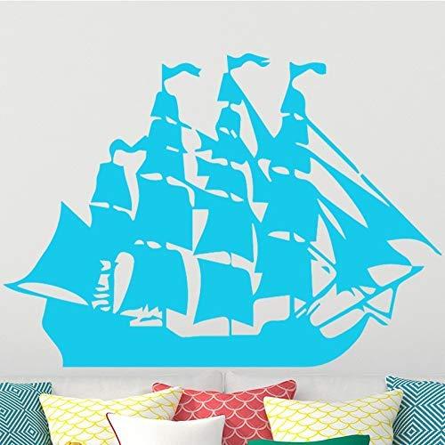 Barco pirata de dibujos animados Vela Pegatinas de pared para niños LivingRooms Dormitorio Niños Vinilo removible Etiqueta de PVC Arte DIY Decoración para el hogar 58 * 37 cm