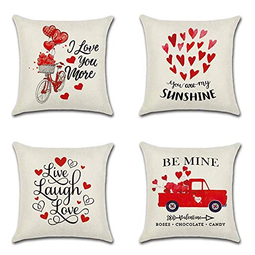 Ydq Set of 4 Happy Valentine's Day Cushion Covers Cotton Linen Pillow Covers Square Pillowcase 18X18 Inch/ 16X16inch for Sofa Bedroom Car Home Decor,B,40 * 40cm