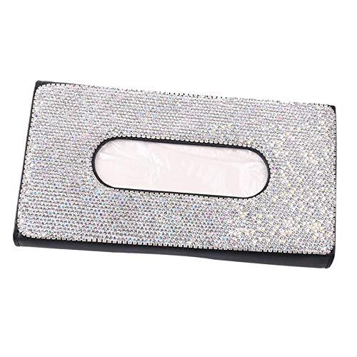 Baoblaze Caja de pañuelos de Diamantes Brillantes para el Almacenamiento de Papel del sostenedor del pañuelo del Coche para la Visera del Sol en casa de la - Negro