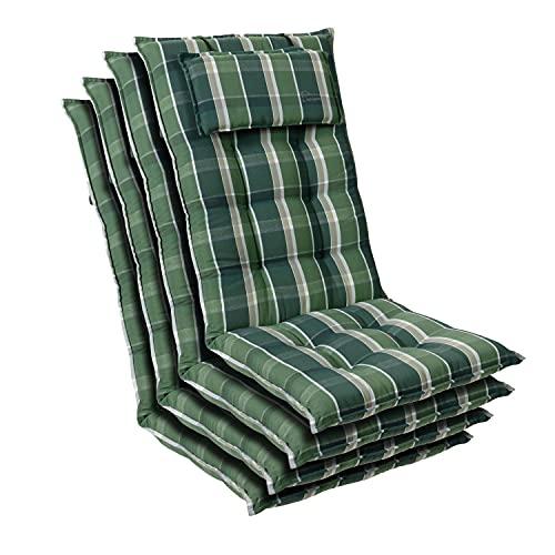 Homeoutfit24 Sylt - Cojín Acolchado para sillas de jardín, Hecho en Europa, Respaldo Alto con cojín de Cabeza extraíble, Resistente Rayos UV, Poliéster, 120 x 50 x 9 cm, 4 Unidades, Verde/Gris