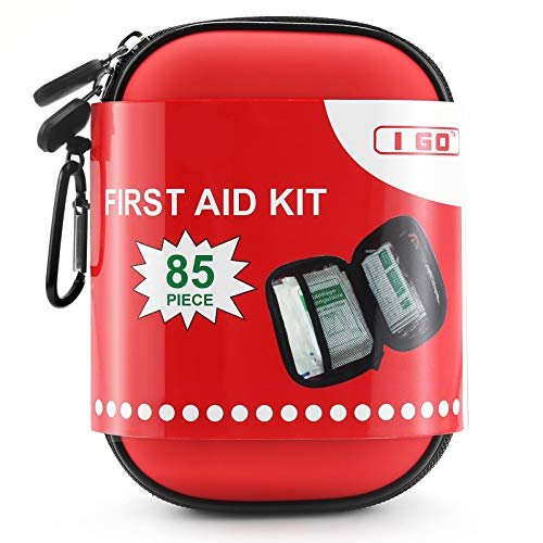 I GO 85 Pieces Hard Shell Mini Compact First Aid Kit, Small...
