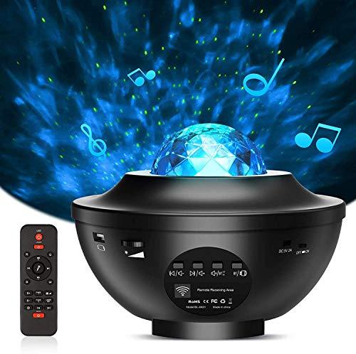 LED Projektor Sternenhimmel Rotierende Wasserwellen Projektionslampe mit Fernbedienung Starry Stern Mond/Bluetooth Lautsprecher für Kinder Erwachsene Zimmer Dekoration