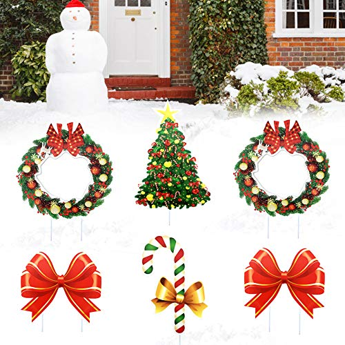 changsha 6 Pcs Christmas Yard Signs with Stakes Decorations Outdoor, Wreath Bowknot Christmas Tree Kit Decor Signs Xmas Holiday Party Lawn Yard Ornaments