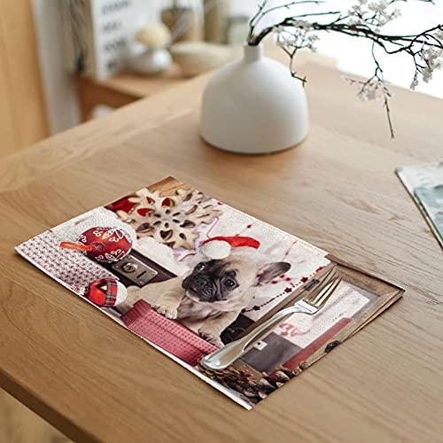 Banemi 4 Manteles Individuales, Perro con Tema Navideño y Gorro Lino de Algodón Individuales Mesa, Rojo Blanco, 32 x 45 cm