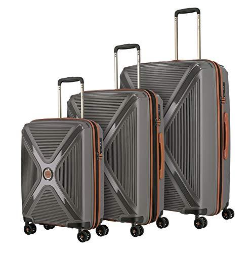 TITAN 4-Rad Koffer Set Hartschale L/M/S mit TSA Schloss, Bordtrolley erfüllt IATA Bordgepäckmaß, Gepäck Serie PARADOXX: Hartschalen Trolley mit Akzenten in Leder Optik, 833102-04, anthracite (grau)