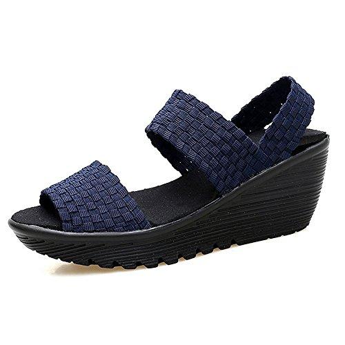 Dayout, sandali estivi da donna in tessuto con zeppa, punta aperta, Mary Jane, Blu (Marina Militare), 39 EU