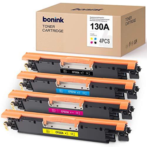 BONINK - Tóner compatible con HP CF350A, CF351A, CF352A, CF353A y 130A para HP color LaserJet Pro MFP M176, M176FN, M177, M177FW, color negro, cian, magenta y amarillo