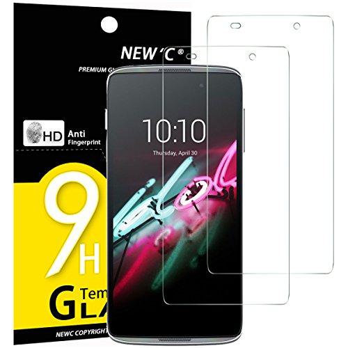 NEW'C 2 Pezzi, Vetro Temperato Compatibile con Alcatel One Touch Idol 3 (4.7), Pellicola Prottetiva Anti Graffio, Anti-Impronte, Durezza 9H, 0,33mm Ultra Trasparente, Ultra Resistente