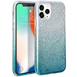 zelaxy iPhone 11 Pro Max Glitter Sparkly Shiny Silm Bling Silicone Case, 3-in-1 Hybrid, Anti-Slick, Anti-Scratch Protective Soft Case for iPhone 11 Pro Max 6.5 Gradient Green