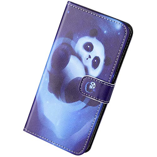 Herbests Kompatibel mit Huawei P40 Lite E Hülle Schutzhülle Leder Handyhüllen Retro Cartoon Muster Flip Wallet Case Cover Klapphülle Ledertasche Handytasche Kartenfach Magnet,Cute Panda