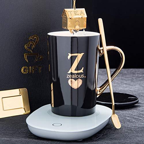 Taza de cerámica de letras inglesas 55 ℃ Termostato inteligente Taza automática de calefacción automática con tapa y cuchara con filtro Tea Dren Z